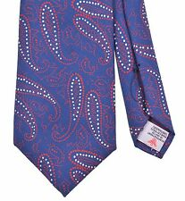 Turnbull & Asser Blue 'Connect The Dots' Red Paisley Print ENGLISH Silk Tie