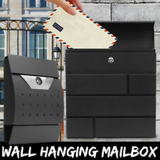 Black Paint Lockable Steel Wall Mounted Post Mail Box Letter Newspaper Holder