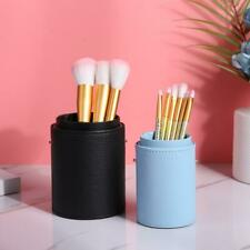 Portable Leather Makeup Brush Holder Travel Cosmetic Pens Storage Cup Case