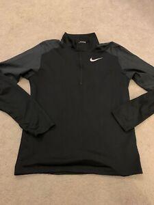 Mens size Small NIKE Black 1/4 zip long sleeve running training top Gym wear VGC