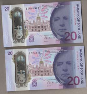 BANK OF SCOTLAND NEW POLYMER £20 UNCIRCULATED PREFIX BE  FREEPOST