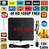 Digital TV Antenna 450 Mile Range 1080P Indoor Signal Amplified HDTV 13FT USB
