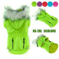 Waterproof Pet Dog Clothes Winter Fleece Warm Parka Coat Hooded Jacket Outwear