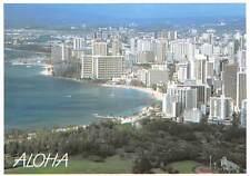 USA Waikiki Beach seen from the Top of Diamond Head Panoramic view