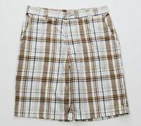 Split Mens White Khaki Black Flat Front Casual Shorts Size 30