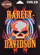 Genuine Harley Davidson Vicious Skull with Flames Emblem Patch EM639993