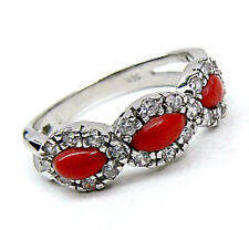 Red CORAL Sterling SILVER Marquise Ring size 8.5