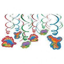 12 x Dinosaur Jungle Birthday Party Hanging Swirl Decorations