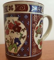China Hand Painted Mug Coffee Cup Vintage Handpainted Flower Red Blossom Rare