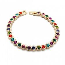 Elegant Rose Gold Finish Multi Colour Colourful Cz Bracelet Quality Uk Jewellery