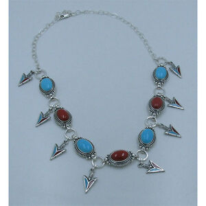ONE OF A KIND .925 Sterling Silver Blue Turquoise Red Coral Arrow Head Necklace
