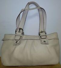 Coach Authentic F13732 Ivory White Soho Tote Leather Zip Handbag Satchel Pleated