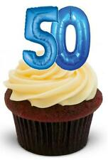 Novelty 50 50TH BLUE BIRTHDAY BALLOONS 12 STAND UP Edible Cake Topper Birthday