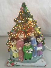 "Vintage Lighted Ceramic Christmas Tree W/ Ornaments Carolers 15"" Silent Night"