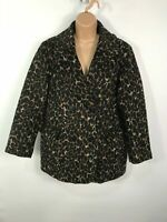 WOMENS H&M BROWN/BLACK BUTTON UP LEOPARD PRINT WINTER OVERCOAT JACKET SIZE UK 14