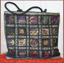 Hand Crafted from Vintage Embroidered Patches Shopping Bag,Tote, Evening Bag