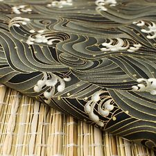 "Black ""Waves"" Japanese Oriental Fabric Cotton Fat Quarter FQ #F0041"