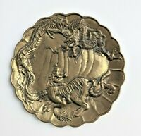 Vintage Chinese Brass Plate ~ Dragon and Tiger in Relief ~ Scalloped Edge, Heavy