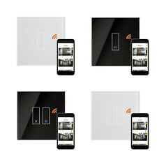Iotty Remote Control Black White Glass Smart WiFi On Off Light Switch