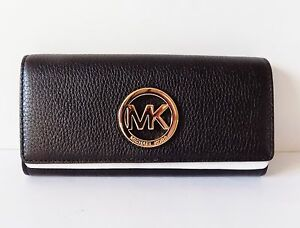 NWT Michael Kors Fulton Carryall Flap Continental Leather Wallet ~ Black/Gold