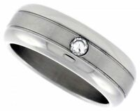 Men's Stainless Steel Simulated Diamond Size 11 Wedding Band 8mm Matte Domed C31
