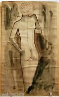 Disegno Acquerello Wash Donna Nuda Di da Spalla Firmato Adrian 24 X 14,5 CM