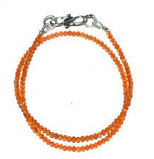 "925 Sterling Silver 12-40"" Strand Necklace Carnelian Gemstone 2.5-3mm Beads R265"