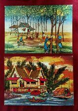 1980s Singapore Batik painting postcard x2 diff  unused! Group b