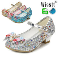 Kids Girls Glitter Sandals Bridal Wedding Party Princess  Bridesmaid Shoes Size