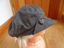 MONSOON ACCESSORIZE GREY HEART BUTTON DETAIL BAKER BOY PEAKED HAT