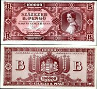 Hungary 100 PENGO 1930 P#112 banknote serial with asterix XF+//aUNC