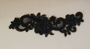 black beaded sequined lace applique organza beaded floral lace motif per piece