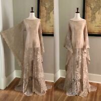 Sheer Beige Taupe Lace Large XL BoHo Hippie Bell Sleeve Wedding Maxi DRESS