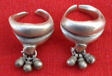 Antique Solid Tribal Old Silver Toe Ring Pair Rajasthan