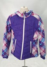 Snozu Jacket Youth Girl Size M 10-12 Hooded Fleece Lined Purple Pink Plaid