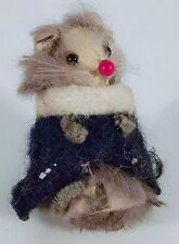 Collectible Original Fur Toys Made In Germany Mouse in Black Jacket