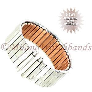 18-22mm Speidel Therapeutic Copper Back Twist-O-Flex Silver Tone Watch Band 161