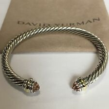 David Yurman Sterling Silver 925 & 14k Gold 5mm Cable Morganite Cuff Bracelet