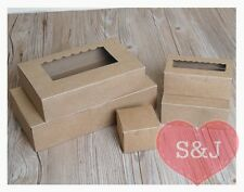 10x Brown Kraft Cardboard Paper Cupcake Box Wedding Favour Window Party Supplies