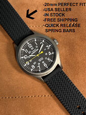 20mm Rubber Strap Black Rally Tire Pattern Band Quick Release Fits Timex Seiko