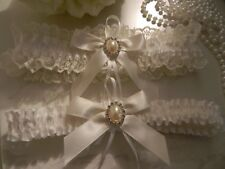 WEDDING GARTER SET 2 IVORY SATIN- SATIN BOWS & RHINESTONE PEARL EMBELLISHMENT
