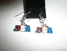 'USA'  red, white and blue banner enamel earrings-wires