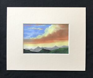 """Mountains In The Sun original mounted pastel painting 10""""x8"""" G.Burgess Cornwall"""