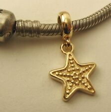 GENUINE SOLID 9K  9ct YELLOW GOLD CHARM BEAD with 3D STAR DROP