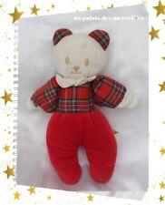 Doudou Peluche Ours Blanc Pantalon Rouge Haut Carreaux Vintage Rêves De Peluches