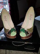 Miss Sixty Floral Peep Toe Heels - size 4