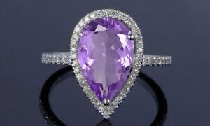 4.00 CTTW Genuine Amethyst Gemstone Pear Cut Sterling Silver Ring