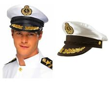 ADULT CAPTAIN HAT SATIN Yacht Boat Navy Sailor Sea Marine Fancy Dress Costume UK