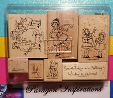COMPLETE Stampin Up WINTER IS CALLING Children Snowman Girl Ice Skating Dog 2003
