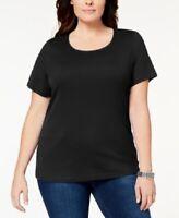 New Karen Scott Scoop Neck Top T Shirt Women's Plus Size 3X Black NWT